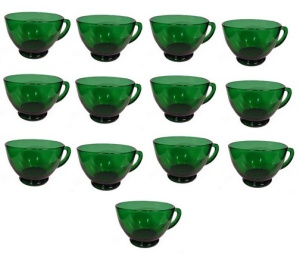 Forest Green Snack Punch Cup Anchor Hocking Fire King (Image1)