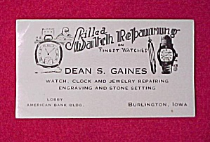 Burlington Iowa Advertising Ink Blotter Dean S. Gaines (Image1)