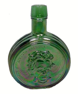 Wheaton Green Carnival Glass Bottle Andrew Jackson