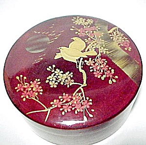 Love Birds Oriental Round Marroon Lacquered Box Vintage (Image1)