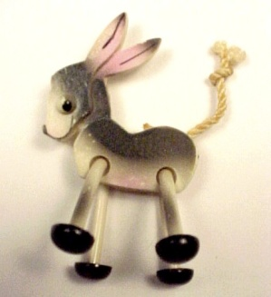 Plastic Figural Donkey Pin Childs Jewelry Swinging Legs (Image1)