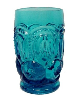 L E Smith Glass Colonial Blue Moon Stars Water Tumbler LE (Image1)