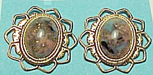 Copper Lucite Jelly Belly Cabachon Clip On Earrings (Image1)