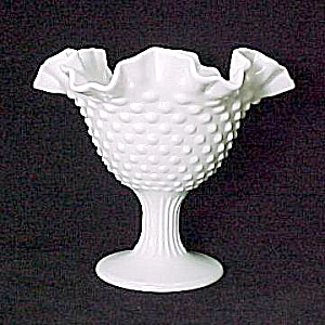 Fenton Milk Glass Hobnail Ruffled Candy Dish Compote (Image1)