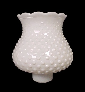 White Glass Sm Hobnail Hanging Table Lamp Globe Shade (Image1)