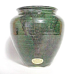 Bear Pottery Green Drip Glaze 6 Inch Vase Hand Thrown