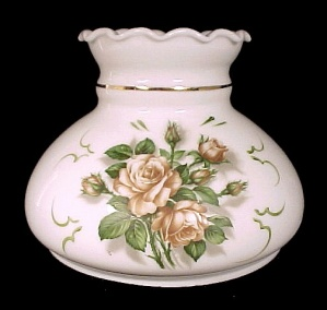 Milk Glass Roses Student Lamp Shade White 7 in Desk Table Wall Sconce  (Image1)