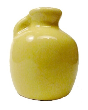 Mini Miniature Yellow Pottery Jug 1.75 in Vintage (Image1)