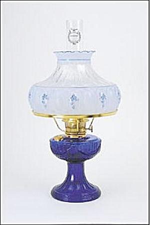 Cobalt Lincoln Drape Aladdin Kerosene Oil Lamp w Shade (Image1)