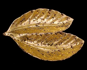 Vintage Weeping Bright Gold 22 K Kt 22K Leaf Dish Bowl (Image1)