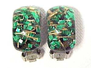 Lucite Confetti Clip Earrings Clear Green Gold Sparkle (Image1)