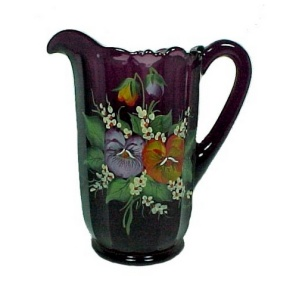 New Purple Amethyst Glass Pitcher Hand Painted Pansy