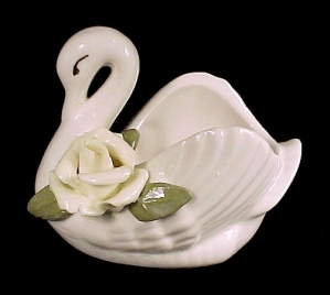 White China Swan Rose Open Salt Cellar Dip Dish Vintage