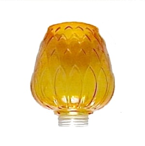 Amber Tension Pole Lamp 2 in Threaded Light Globe Shade Danish Modern (Image1)