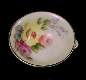 Hand Painted Rose China Open Salt Dip Cellar Dish Japan (Image1)