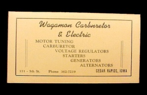 Wagamon Carburetor Electric Cedar Rapids Iowa Ia 1950 Advertising