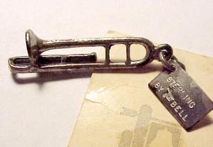 Sterling Silver Bracelet Charm Trombone Vintage 1960s Iowa (Image1)
