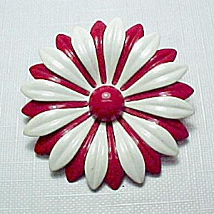 Red White Floral Pin Brooch Enameled Enamel Vintage (Image1)