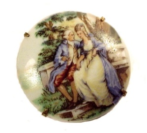 Limoges Porcelain China Brooch Pin Hand Painted Vintage