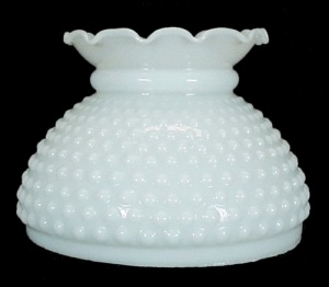 Milk Glass Hobnail Student 6 inch Lamp Shade New White  (Image1)