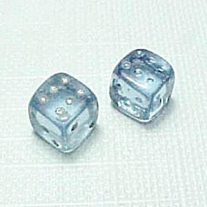 Pair Tiny Blue Czech Art Glass Dice Vintage Poker