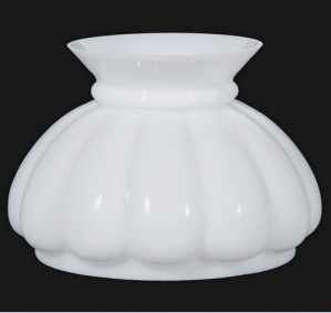 Melon 7 in Milk White Glass Kerosene Oil Lamp Shade New (Image1)