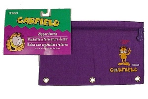 Garfield Paw Mead Zipper Pencil Pouch Purple Nylon New (Image1)
