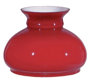Cased Glass Red 7 in Student Oil Kerosene Lamp Shade Desk Table AS IS (Image1)