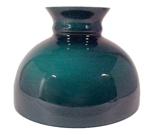 Cased Green Glass 10 In Student Kerosene Oil Lamp Shade Desk Table