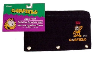 New Garfield Paws Mead Zipper Pencil Pouch Black Nylon Back to School (Image1)