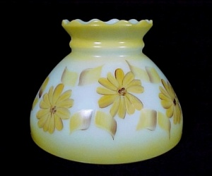 Floral Milk Glass 8 In Student Lamp Shade Hand Painted Yellow Vintage