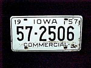 1957 Linn Co Iowa Ia License Plate Auto Car Commercial Truck Vehicle