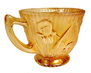 Jeannette Glass Iris & Herringbone Gold Iridescent Cup