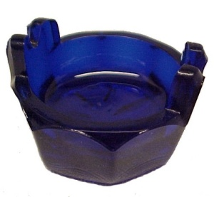 Wash Tub Open Salt Dip Cellar Cobalt Blue Glass New