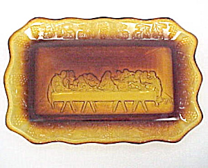 Jesus Lords Last Supper Tiara Indiana Glass Plate Tray. (Image1)