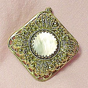 Mother of Pearl MOP Pin Brooch Pendant Ornate Germany (Image1)