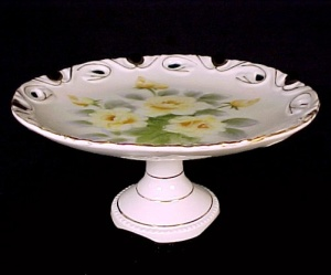 Vintage Yellow Rose China Pedastal Plate Compote Server (Image1)