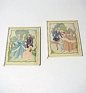 Lot of 2 Colonial Art Prints w/ Metal Frame Convex Glass Vintage 1940s (Image1)
