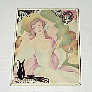 Lady Silhouette Reverse Painted Colonial Art Print Convex Glass 1940s  (Image1)
