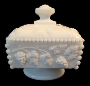 Westmoreland Milk Glass Beaded Grape Honey Box Candy