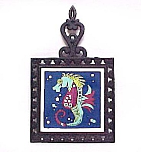 Holt Howard Seahorse Sea Horse Tea Tile Trivet Castiron Cast Iron