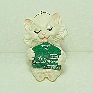 1990 Hallmark Friendship Kitten Christmas Tree Ornament (Image1)