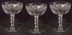 3 Fostoria Glass Crystal Buttercup Etched Low Sherbet Vintage (Image1)