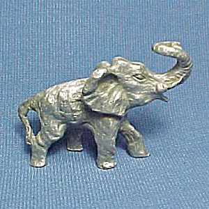 Pewter Elephant Miniature Figurine Wild Animal Figure (Image1)