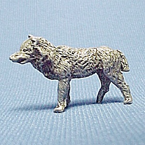 Pewter Wolf Dog Miniature Figurine Wild Animal Figure (Image1)