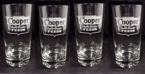 Cooper Feeds Drinking Glass Agri Farm Feed Advertising