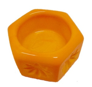 Hexagon Yellow Orange Slag Glass Open Salt Dip Cellar (Image1)