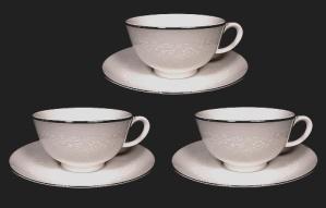 3 Noritake Montblanc White Floral Teacup Tea Cup & Saucer Sets (Image1)