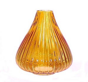 Neckless Amber Glass Danish Modern Ribbed Light Shade Pendant (Image1)