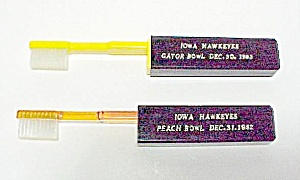 2 Iowa Hawkeyes Peach Gator Bowl Souvenir Toothbrushes (Image1)